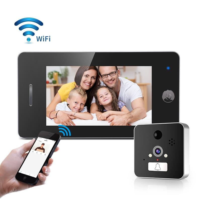 Visionneuse de porte WIFI judas 4.3 pouces HD visionneuse de porte intelligente moniteur de caméra Support détecteur de moniteur PIR et fonction de Vision nocturne