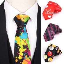 Skinny Ties For Men Women Colorful Printed Casual Neck Tie Slim Neckties Funny Fashion Mens Necktie Wedding Party Gravata