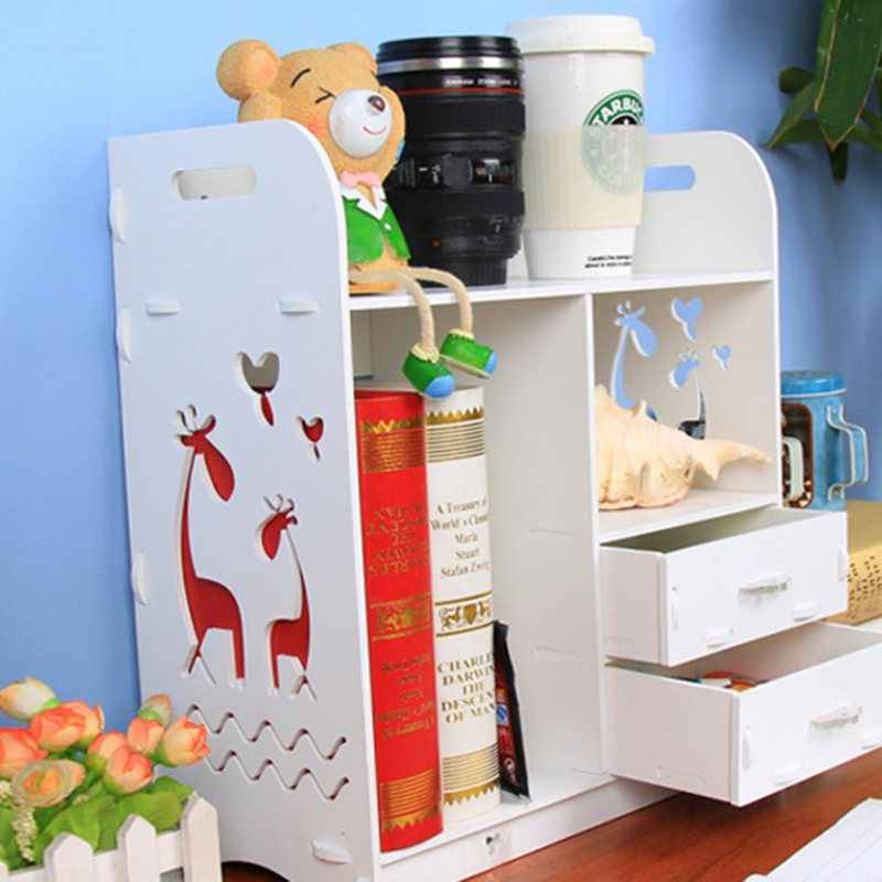 Белая деревянная доска большого размера, Настольная полка для макияжа, органайзер, косметические инструменты, держатель для хранения, Офисная стойка для книг
