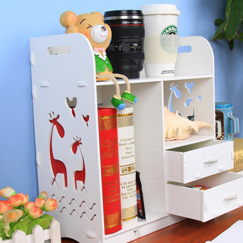 White Large Size Wood Board Desktop Makeup Shelf Organizer Cosmetic Tools Storage Holder Office For Books Finishing Rack