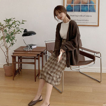 NEW Overszie Women Sweater 2 Piece Sets Womens Elegnat Knitted Suits Female knitting sweaters plaid skirt Sell separately 1