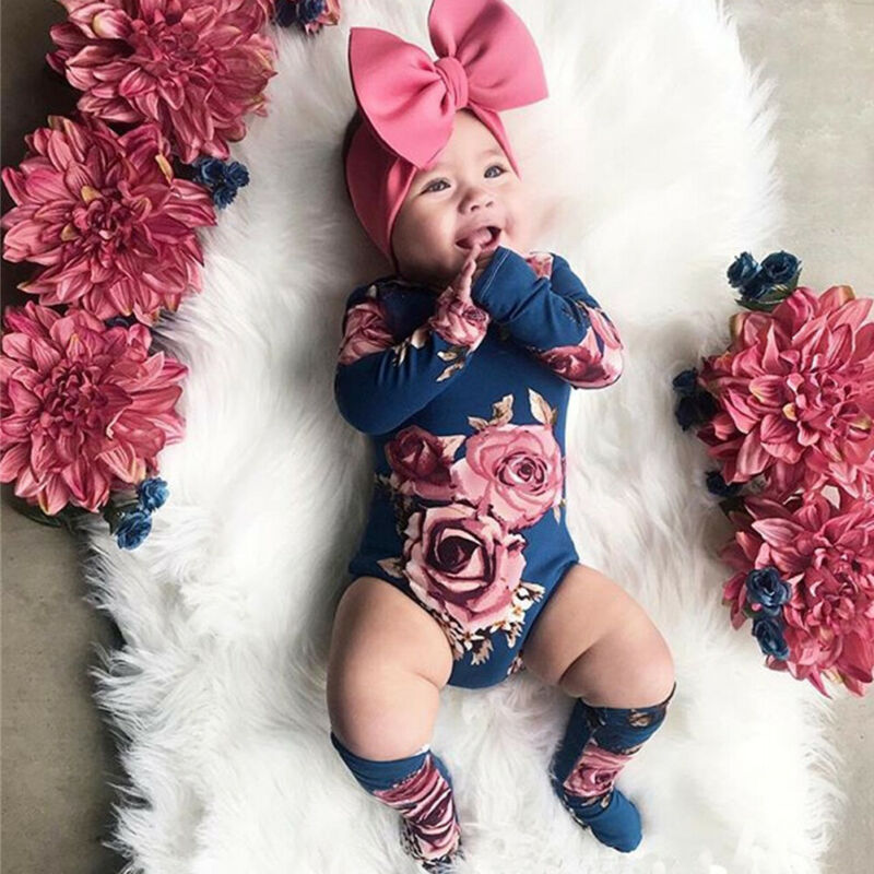 0-24M Newborn Baby Girl Clothing Autumn Long Sleeve Floral Romper Jumpsuit + Warm Leg Socks Outfit Baby Clothes