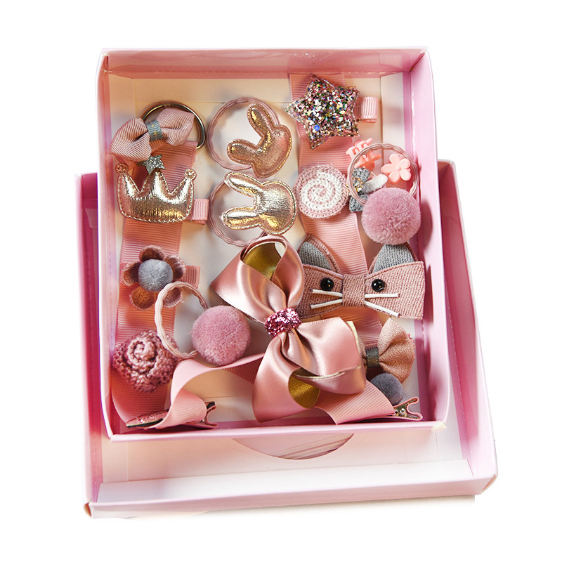 18pcs/set Gift Box Kid Fashion Hair Accesories Hairpin Headband Gift Baby Girls Hairbands Hairclip Hair Bands Hair Barrette