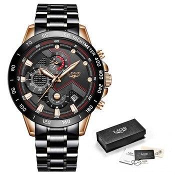 Relogio Masculino LIGE Hot Fashion Mens Watches Top Brand Luxury Wrist Watch Quartz Clock Blue Watch Men Waterproof Chronograph 8
