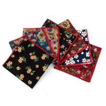 Мода элегантность цветочные носовой платок шарфы винтаж хлопок платки мужские% 27 карман квадрат носовые платки роза цветок пейсли квадрат