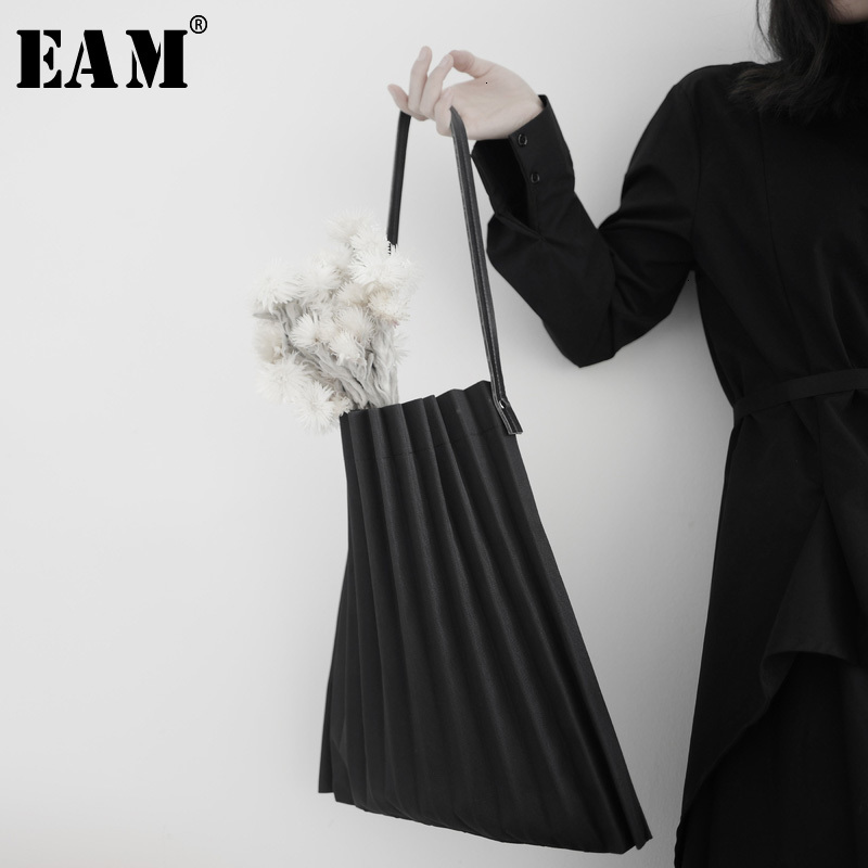 [EAM] Women New Black Canvas Pleated Split Big Size Personality Accessories Fashion Tide All-match Spring Autumn 2020 19A-a645