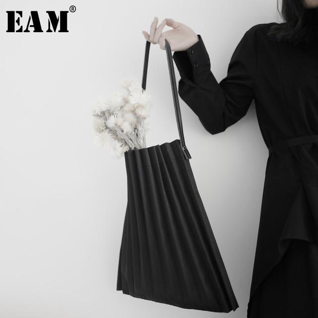 [EAM] נשים חדש שחור בד קפלים פיצול גדול גודל אישיות אביזרי אופנה גאות כל התאמה אביב סתיו 2020 19A a645