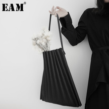 [Eam] 女性新ブラックキャンバスプリーツ分割ビッグサイズ人格アクセサリーファッション潮すべてマッチ春秋2020 19A a645