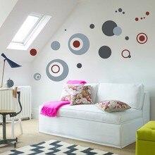 цена на Design Abstract European Bordeaux Circle Wall Decal Decorative Adesivo De Parede Removable PVC Wall Sticker