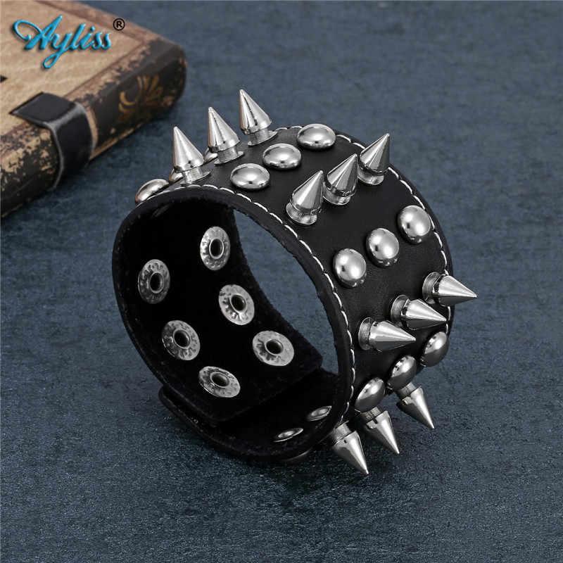 Ayliss, superventas, 1 unidad, remache de cuero de vaca negro, pulsera de hombre, Punk Rock, pulsera de cuero, brazalete, pulsera, joyería para hombres