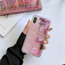 Makeup Eyeshadow Palette Glitter quicksand case For iphone XS Max XR XS 6 6s 7 8 plus 7plus Dynamic liquid phone cover funda(China)
