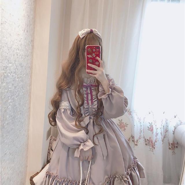 Fashion Women Sweet Lovly Lolita Clothes Kawaii Dress Cute Japanese Lolita Style Ruffle Dress Vintage Puff Sleeve Sweet Lavender Women's Clothing & Accessories cb5feb1b7314637725a2e7: Long Sleeve Short Sleeve