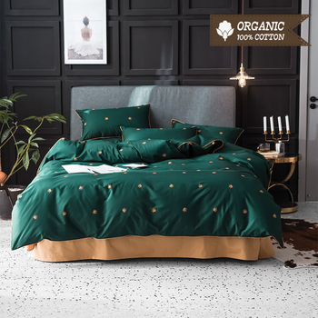 100% Cotton Bed Linen Set Solid Color with Cartoon Leaves Dogs Deer Spots Bed Sheet Quilt Cover Pillowcase 3-4pcs Bedding Set