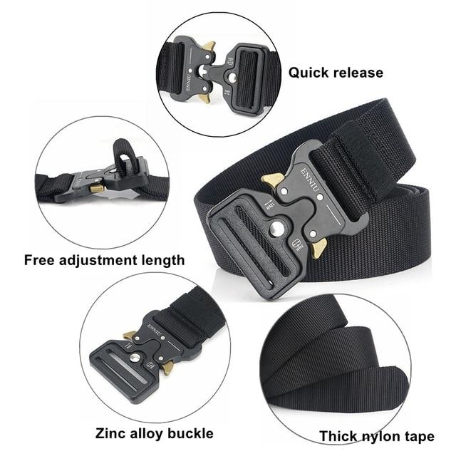 Nylon Tactical Belt Army Belt Men Outdoor Training Belts Black High Quality Easy Unlock Metal Military Buckle Belt 3