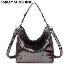 SMILEY/SUNSHINE Bolso grande de piel para mujer, bandolera grande