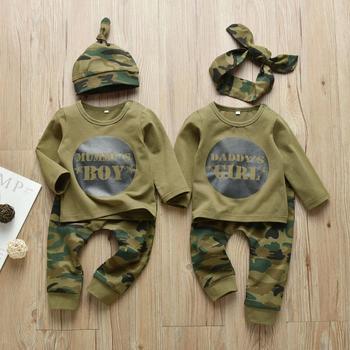 Nowonarodzone dziecko chłopcy dziewczęta ubrania tata mumia list 3 sztuk stroje zestaw z długim rękawem T-shirt + spodnie niemowlę maluch odzież garnitur tanie i dobre opinie EGHUNOOY COTTON Moda O-neck Zestawy Przycisk zadaszone Pełna REGULAR Pasuje prawda na wymiar weź swój normalny rozmiar