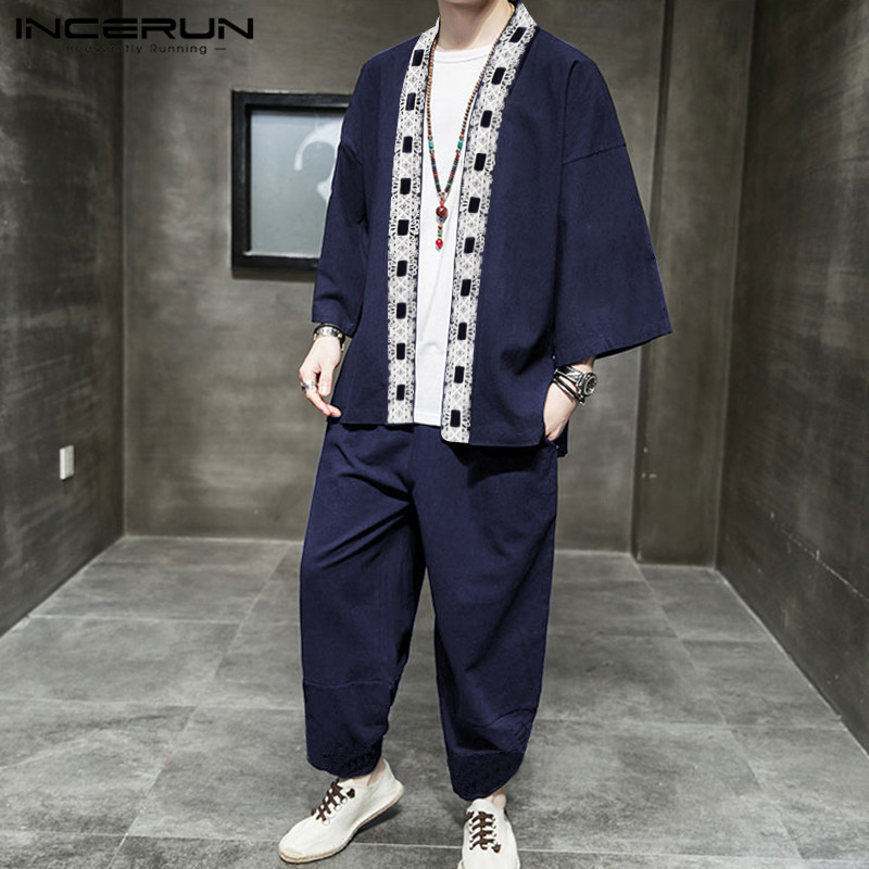 INCERUN Mens Vintage Patchwork Sets Long Sleeve Lace Up Cardigan Shirts Elastic Waist Pants Sets Mens Chinese Style Suits S-5XL