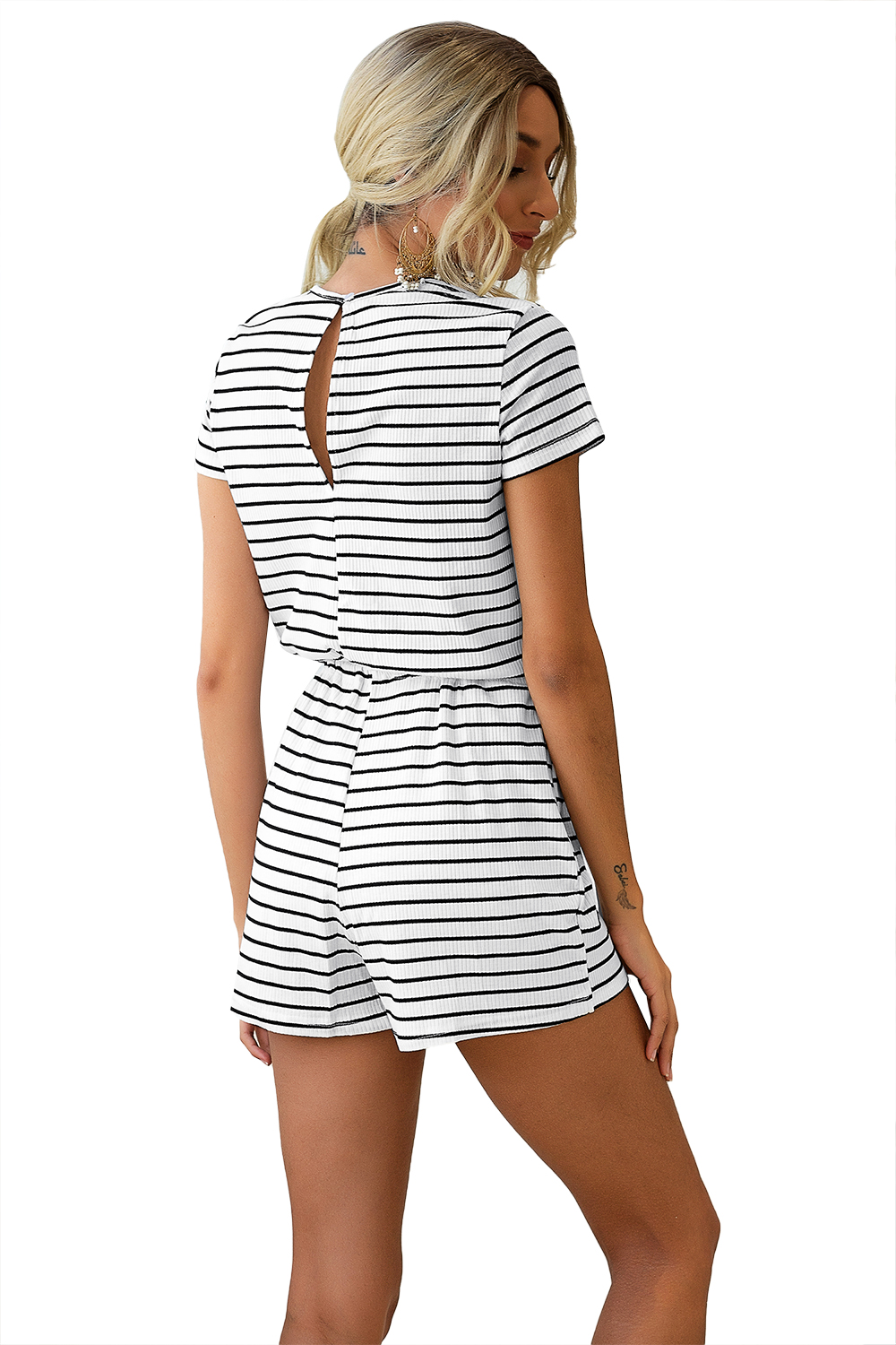 Women Striped Jumpsuits shorts Girls Round neck Home Leisure Summer Beach party Playsuits Female Rompers
