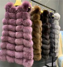 LEDEDAZ 2019 NEW Fashion Long Ladies Real Fur Vest Jacket 100% Fox Coat Flurry & Warm Autumn Winter Outerwear 90CM