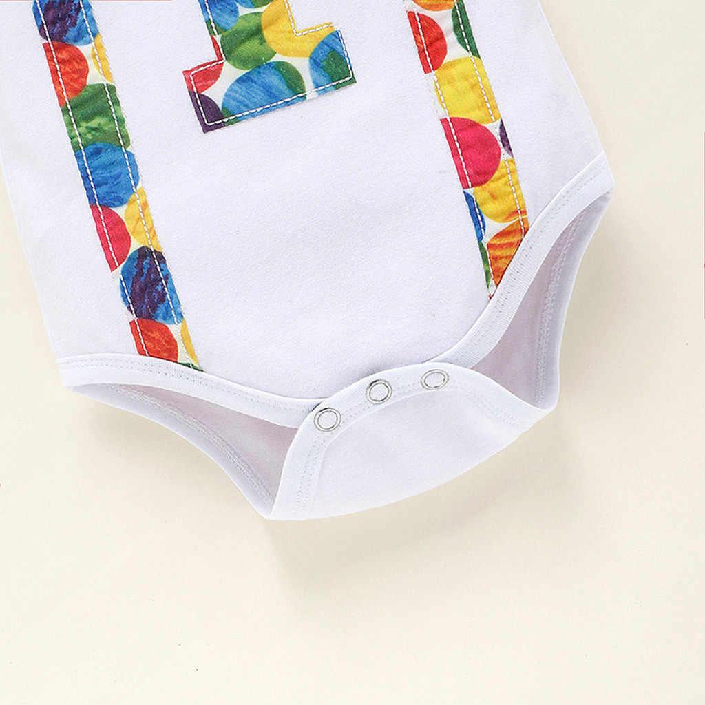 Baju Lengan Pendek Bayi Dasi Satu Tahun Ulang Tahun Belt Celana Cocok untuk Anak-anak Dua Pakaian Set untuk Bayi Anak Laki-laki Yang Baru Lahir 1