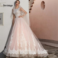 Sevintage A Line Scoop Wedding Dresses 2020 Lace Appliques Cap Sleeves Boho Wedding Gowns Plus Size Backless Vestidos De Noiva