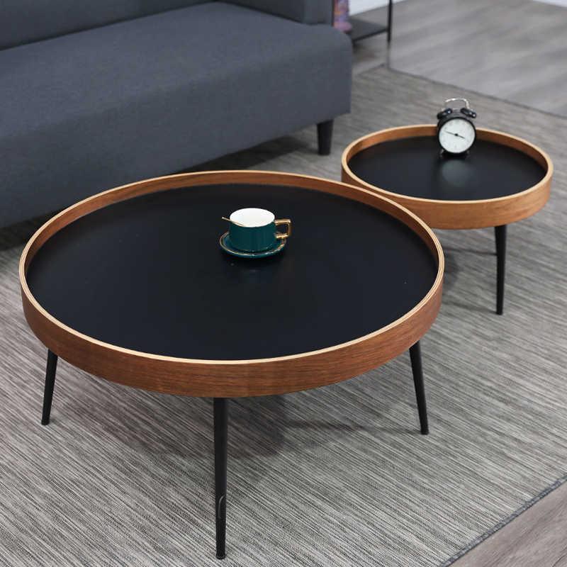 round small minimalist simple modern coffee table wooden iron casting sofa side table bedside tea tray floor center end table