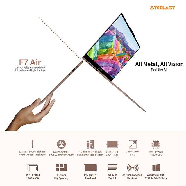 Teclast F7 Air Ultra Thin Laptop 14 inch Intel N4120 8GB LPDDR4 256GB SSD Notebook 1920x1080 FHD Windows 10 Computer 1.18KG 180° 2