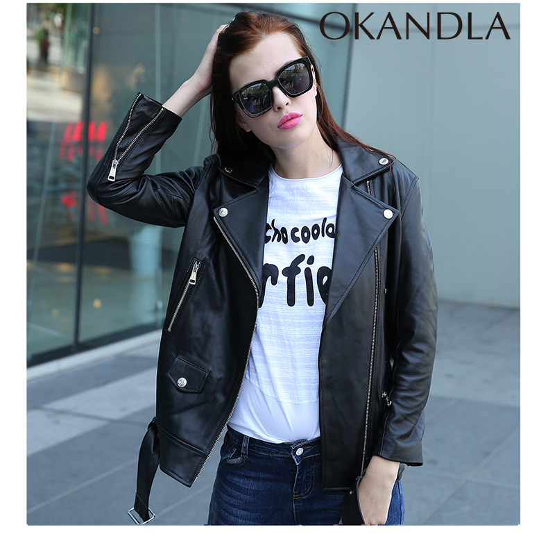 Free Shipping,New Spring Loose Quality Fashion Genuine Leather Women Jackets.motorbiker Female Sheepskin Jacket Suede