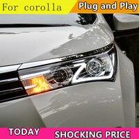 Car Styling Head Lamp for Toyota corolla Headlights 2014 2017 LED Headlight Bi Xenon LED DRL crolla Headlight assembly
