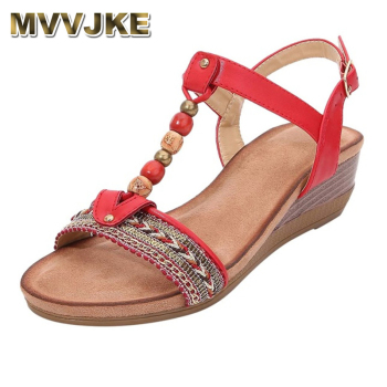 MVVJKE New Women Wedge Sandals Beach Open Toe Roman Vintage Beaded Bohemian Shoes Solid Rubber Insoles Summer - discount item  50% OFF Women's Shoes