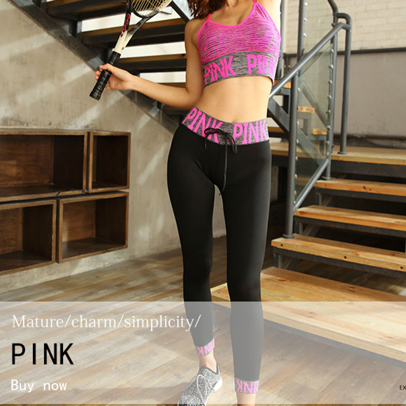 PINK Yoga Set Women Fitness Clothing Sportswear Woman Gym Leggings Padded Push-up Strappy Sports Bra 2/3 Pcs Sports Suits