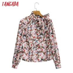 Tangada Spring Women Flowers Print Blouse Bow Stand Neck Long Sleeve Chic Female Office Lady Shirt Tops 2F174