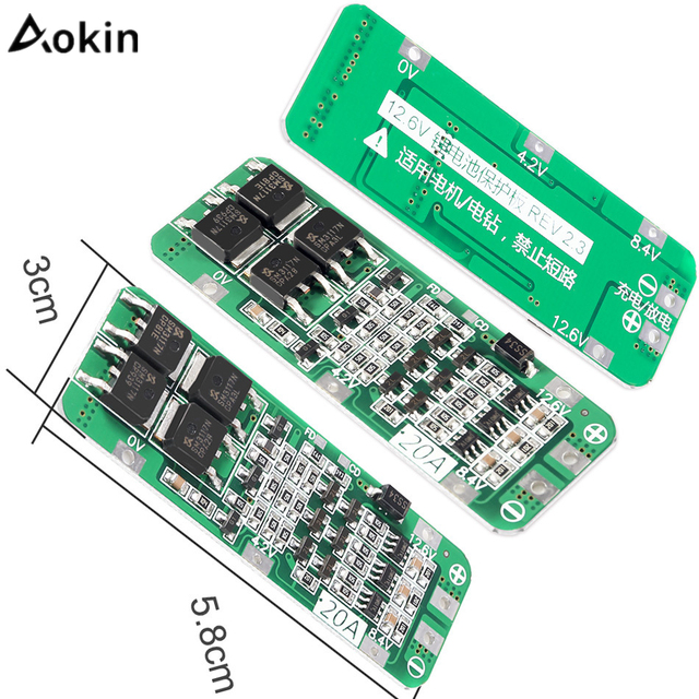 Aokin 3S 20A 12.6V Li-ion Lithium Battery 18650 Charger Protection Board PCB BMS Cell Charging Protecting Module Accessories