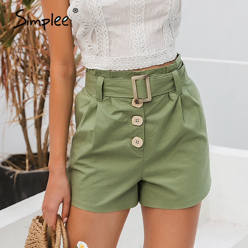 Simplee  Casual Green Women Summer Shorts Sash Belt Cotton Female Shorts Office Work Ladies Buttons Shorts Streetwear Bottoms