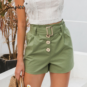Image 1 - Simplee  Casual green women summer shorts Sash belt cotton female shorts Office work ladies buttons shorts streetwear bottoms