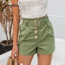 Simplee rahat yeşil kadın yaz şort kuşak kemer pamuk kadın şort ofis iş bayanlar düğmeler şort streetwear dipleri
