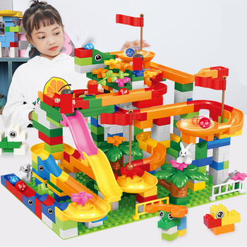 Big Size Marble Race Run Maze Ball Track DIY Building Blocks Sets Duplo Friends Funnel Slide Bricks Education Toys for Children funlock duplo marble run plastic slide 43p blocks crystal snowice building toys for children