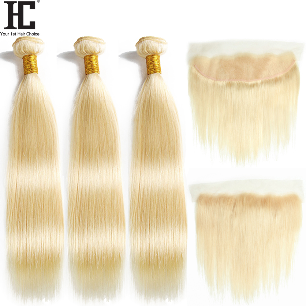 Hc3c93fc8dfb041aea27ceb7d08be66e7D HC 613 Bundles With Frontal Blonde 3 Bundles With 13X4 Closure Remy 613 Brazilian Straight Human Hair Weave Bundles With Frontal