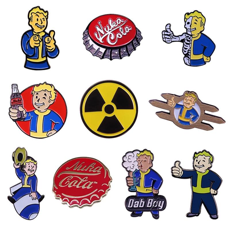 Fallout Vault Boy Enamel Pin set Nuka Cola Bottle cap Radioactive Hazard Symbol Brooches Video Game Collection
