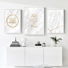 Nordic Modern Canvas Painting Decoration Home Golden Letters Poster Print Wall Art White Marble Picture for Living Room Bedroom modern black swan and white swan canvas painting print poster picture home bedroom wall art painting decoration can be customize