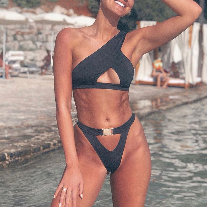 Hc3c9631fa0bd4cdbadf92fc105654e11k In-X One shoulder bikini 2019 Buckle high cut swimsuit Sexy thong bikini Hollow out bathing suit White push up swimwear women