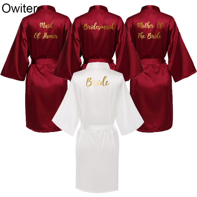 Owiter 2019 New Personalized Bridesmaid Bridal Robes Silk Satin Bath Robe Bride Robes Women Wedding Bride Gown Sexy Nightgrowns