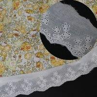 Tela de encaje de algodón blanco con bordado ancho de flores, 4,5 CM, accesorios de costura para vestido, Tissu por el patio