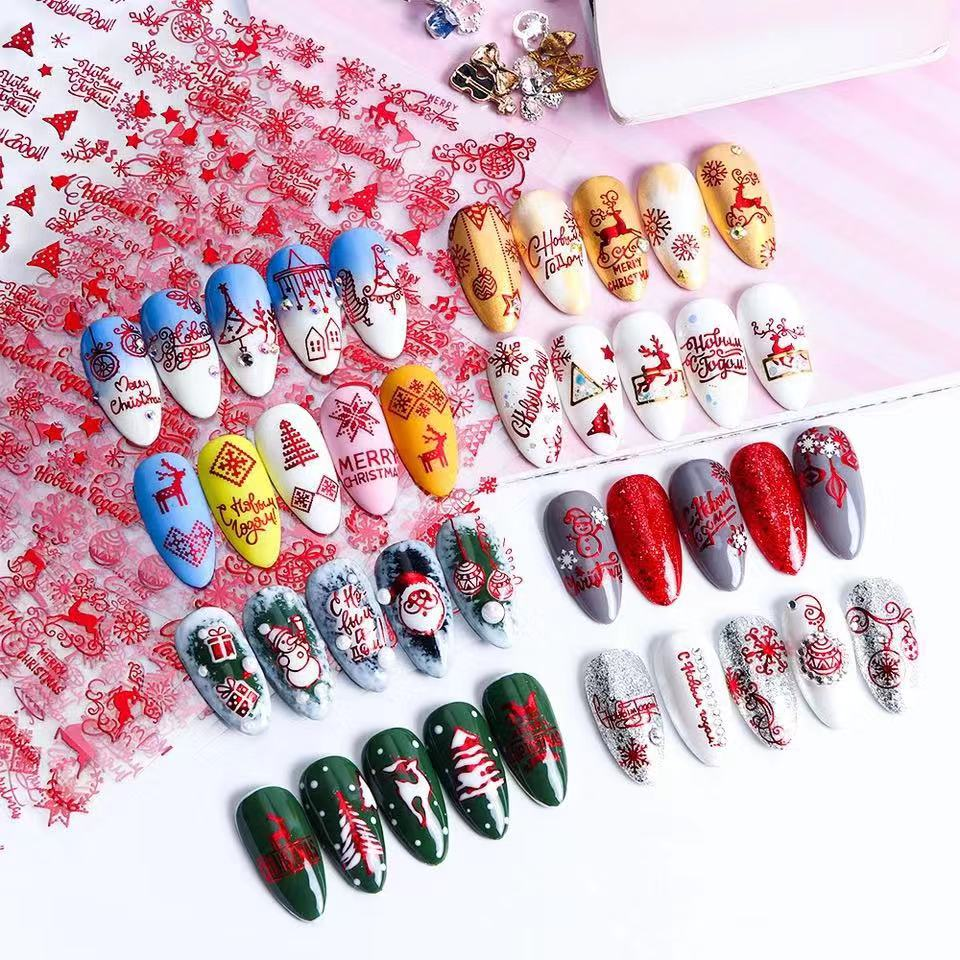 Newest CB sereis CB-142 Christmas series 3d nail art sticker decal stamping export japan designs rhinestones  decorations