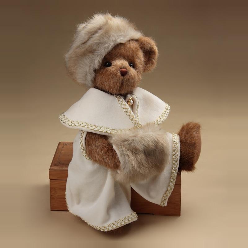 Noblewoman Teddy Bear Military Uniform Bear Joint Movable Soft Toy Plush Bear Stuffed Animals Children Birthday Toy Home Decor