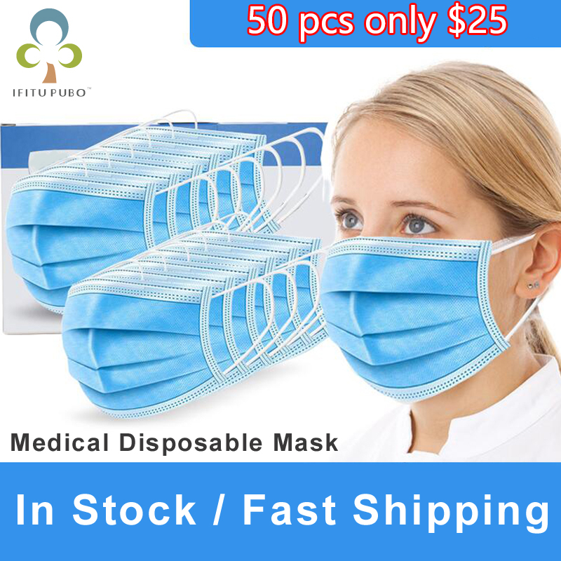 50 Pcs 3 Layer Disposable Medical Protective Face Mouth Masks  Anti nCoV PM2.5 Flu Bacterial Facial Dust Proof Safety Masks GYHCycling  Face Mask