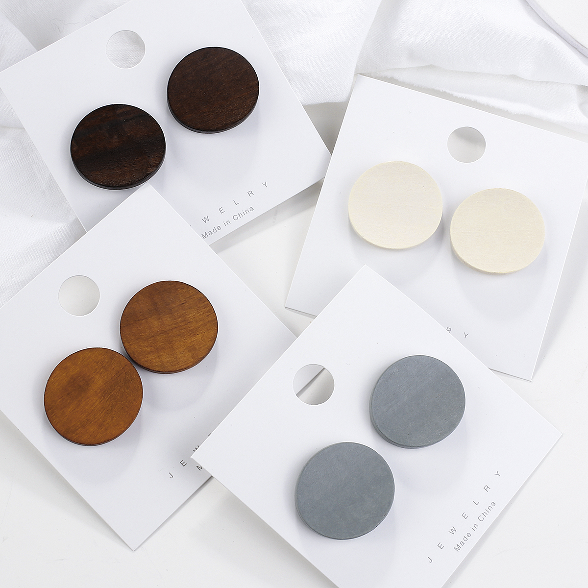 AENSOA New Trendy Round Wooden Earrings For Women 2020 Vintage 4 Color Wood Statement Pendant Earrings Costume Jewellery Gift