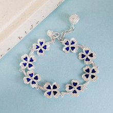 Women Silver Bracelet Clover Jewelry Charms Chinese Handmade Love Bangle Ethnic Hand Chain Vintage 999 Sterling Silver Bangles uglyless real 999 silver fine jewelry women simple fashion thick bangles ethnic fish open bangle handmade engraved lotus bijoux