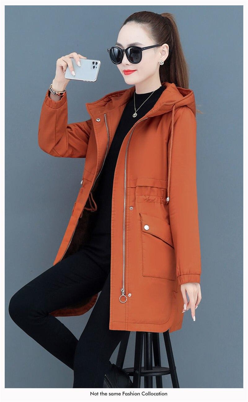 NEW2021 Women Parkas Fashion Coat Elegant Winter Mid Long Cotton Jacket Plus velvet thickening Hooded Collar Female Snow Outwear