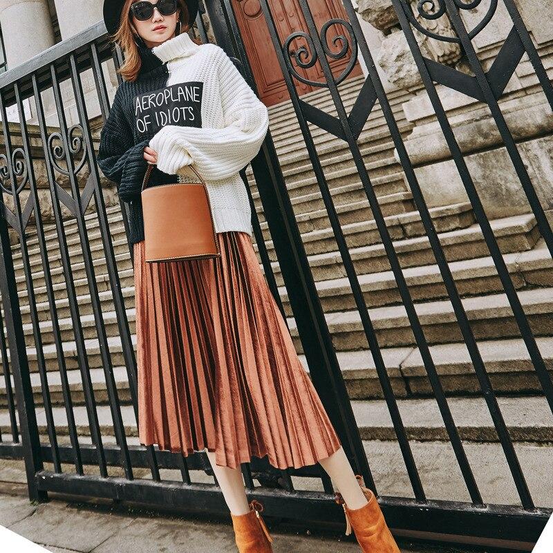 2019 Autumn And Winter Multicolor Gold Velvet Mid-long Section A Line Pleated Skirt Skirt Metallic